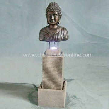 Light and Durable Fiberglass Fountain with LED, 31.5-inch Height, Available in Different Designs
