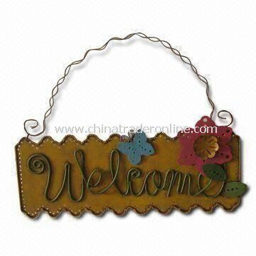 Metal Flower Welcome Sign, Ideal for Easter and Spring Decorations, Measures 13.5 x 5 Inches