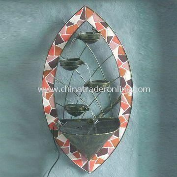 Metal Mosaic Wall Fountain, Made of Iron with 19.5-inch