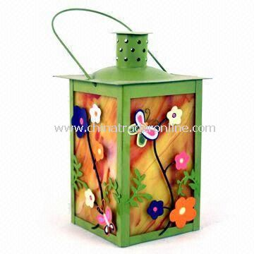 Metal Spring Lantern with Colorful Painting, Suitable for Home and Outdoor Decorations