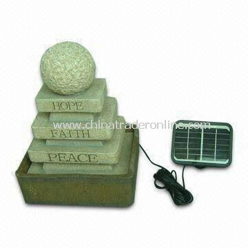 Solar Fountain, Measuring 26 x 19 x 35cm, Made of Polyresin
