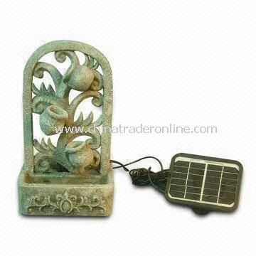 Solar Fountain with Monocrystalline Solar Panel, Made of Polyresin Material