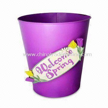 Welcome Spring Bucket Metal Crafts, Design for Garden Decoration