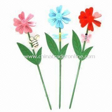 Wooden Flower Stick, Various Style Available, Used for Spring Garden Decoration