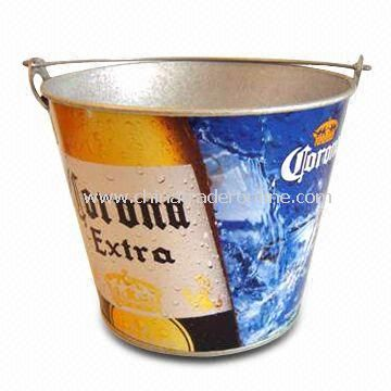 Beer Ice Bucket, Made of Zinc Plating Iron, Available in Different Sizes and Printing Patterns from China