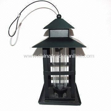 Bird Feeder, Made of Iron and Acryl, Black Painting, Automatic, Garden Decoration