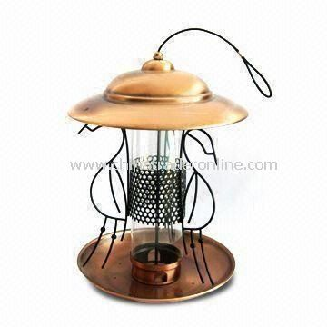 Bird Feeder, Made of Iron and Acrylic, with Copper Plating and Black Paint, OEM Designs are Welcome