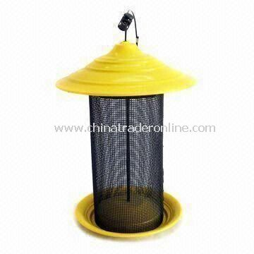 Bird Feeder, Made of Iron and Glass, with Black Painting, Automatic, for Garden Decoration