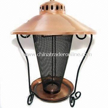 Bird Feeder, Made of Iron and Net, Dark Copper Plating, Black Painting, Automatic, Garden Decoration