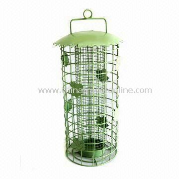 Bird Feeder, Made of Iron and Net, with Green Painting, Suitable as Garden Decoration