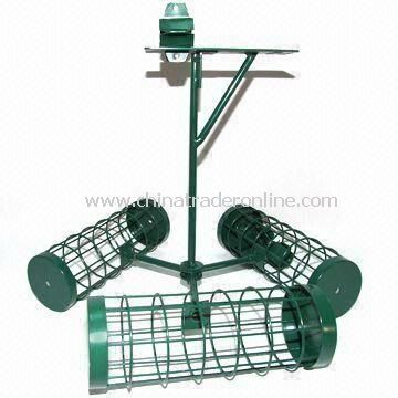 Bird Feeder, Made of Iron and Wire, Green Painting, Automatic, Garden Decoration