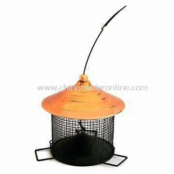 Bird Feeder for Garden Decoration, OEM Designs are Welcome, Made of Iron and Net