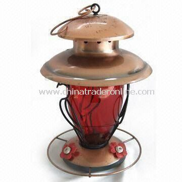 Bird Feeder with Red Glass, Suitable for Garden Decorations