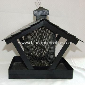 Bird Houses for Garden Decoration, Made of Iron and Net, Black Plating and Painting