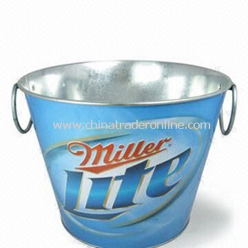 Ice Bucket, Made of Galvanized Iron, Customized Colors are Accepted