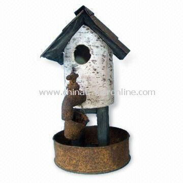 Metal Birdhouse for Easter Decoration, Measures 14.5 x 16 x 37.5cm