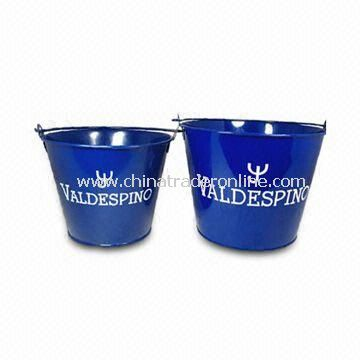 Metal Ice Bucket with 5L Capacity, Various Colors and Logos are Available