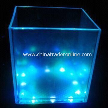 Square LED Ice Bucket, Made of PS/Acrylic Material