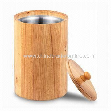 Stainless Steel Ice Bucket with Wooden Wall, Customized Designs are welcome