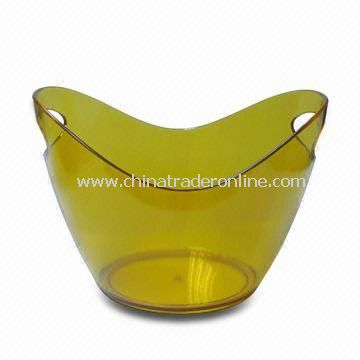 Transparent Ice Bucket with Side Handles, Made of PS, Customized Logos are Welcome