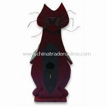 Wooden Bird House in Cat Shape, Measures 34.5 x 15 x 13.5cm from China