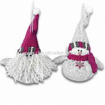 4-inch Bark-look Puffy Santa/Snowman Hanging Ornaments