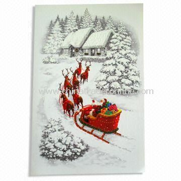 Christmas Card with CMYK Printing, Customized Sizes are Accepted, Made of Art Paper