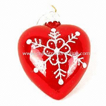 Christmas Glass Ball/Ornament with Inner Print in Various Colors, Measures Ø10cm