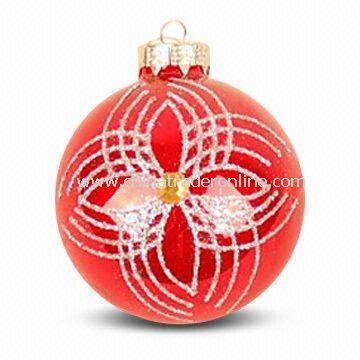 Christmas Glass Ball/Ornament with Inner Print in Various Colors, Measures Ø8cm