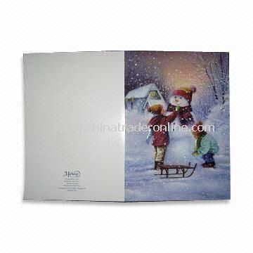 Christmas Greeting Card, Made of Coated Paper, Various Sizes, Designs and Colors are Available