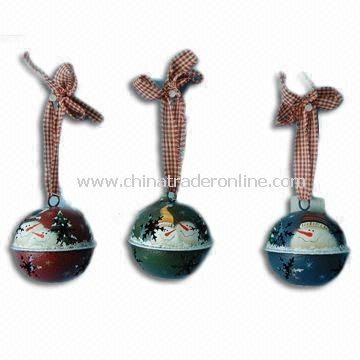 Christmas Ornament/Bells with Electronic Candle Light, Made of Metal and Cloth
