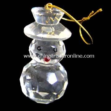 Christmas Ornament with Snowman Shape Design, Made of Crystal from China