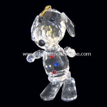 Christmas Ornament with Standing Dog Shape Design, Made of Crystal