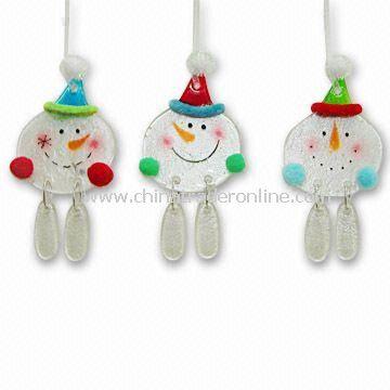 promotional Christmas Ornaments Fusion Glass Snowman Ornaments