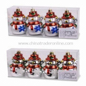 Glass Christmas Ornaments with PVC Box Package, Various Diameters are Available