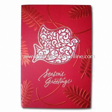 Greeting Card for Christmas, Fashionable Design, Inner with 1C Printing