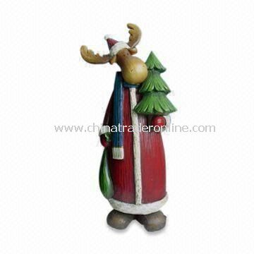 Hand Painted Polyresin Deer Craft for Christmas Decoration with Made of Polyresin