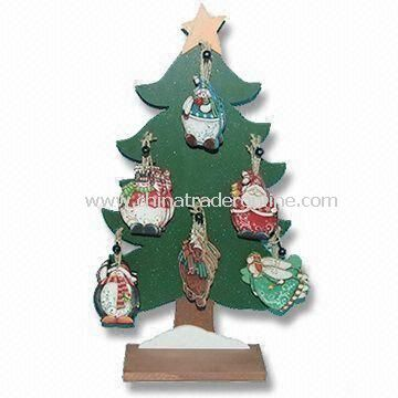 Six Assorted Designs Christmas Tree Design Ornament, Made of Wood, Measures 7 x 0.5 x 9.5cm