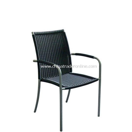 Stainless Steel Armchair with Black Wicker