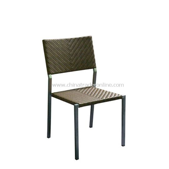 Stainless Steel Sidechair with wicker