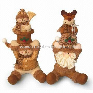 16-inch Snowman with Baby and Santa with Moose Baby on Head, Available in Brown