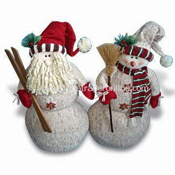 22-inch Bark-look Santa with Ski and Snowman with Broom