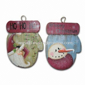 27.5 x 21 x 1.2cm Santa/Snowman Glove Plaques, Made of Wood, Suitable for Christmas Decorations