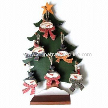 42-piece Wooden Snowman Ornament with Display, Available in Various Sizes