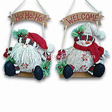 8-inch Swinging Bark-look Santa/Snowman
