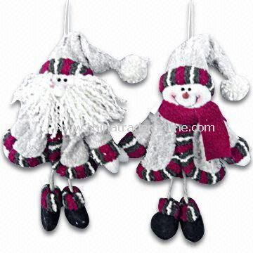 Bark-look Santa/Snowman Hanging Ornaments Measures 9-inch