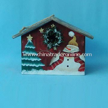 bird house with snowman suitable for christmas decorations made of wood from china - Bird House Christmas Decoration