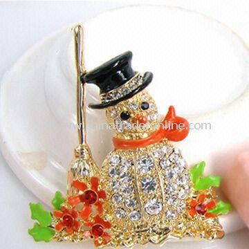 Brooch with Snowman Shape Design, Made of Rhinestone, Enamel and Zinc Alloy, Nickel and Lead-free