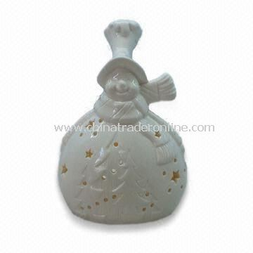 Ceramic/Porcelain Snowman Tealight Candle Holder, Ideal for Gifts and Decoration