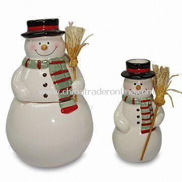 Ceramic Snowmen with Broom, Suitable for Christmas Decoration